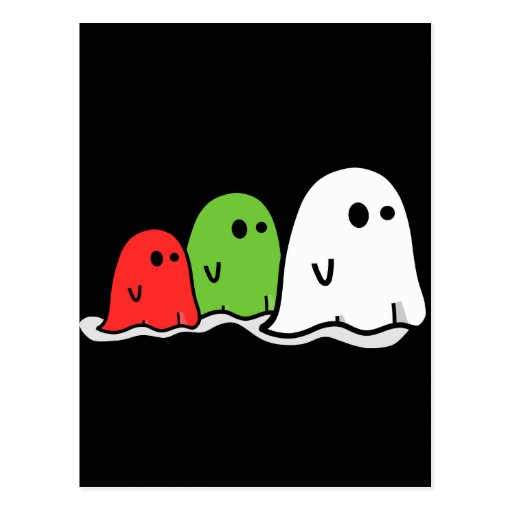 Fantasmas italianos Kawaii del feliz Halloween lin Postal