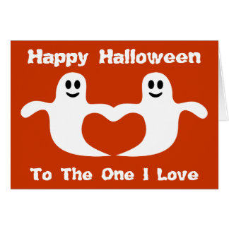 Fantasmas lindos de Halloween a la una tarjeta del
