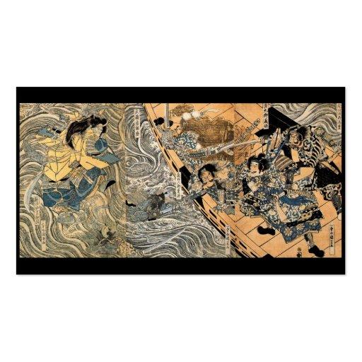 Fantasmas que luchan del samurai, circa 1800's tarjeta de negocio