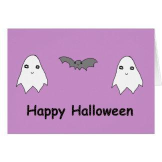 Fantasmas y amigos lindos del palo tarjeta de felicitación