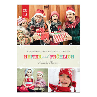 Farbenreich Foto Weihnachtskarte Invitación 12,7 X 17,8 Cm