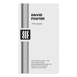Farmacéutico - blanco negro moderno tarjetas de visita