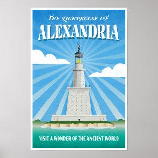 Faro de Alexandría - maravilla antigua Póster