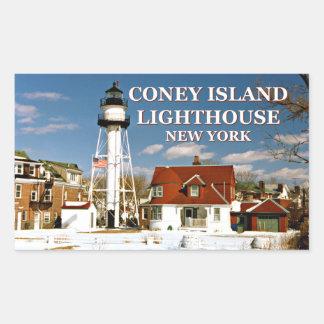 Faro de Coney Island, Nueva York Pegatina Rectangular