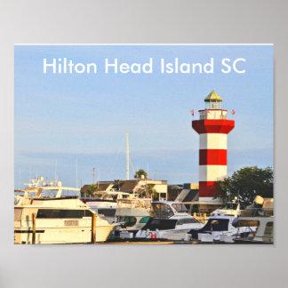 Faro de Hilton Head Island con los barcos en el Póster