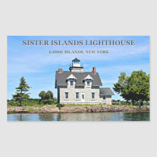 Faro de las islas de la hermana, pegatinas de pegatina rectangular