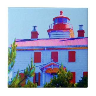 Faro de Newport en la bahía de Yaquina Azulejo