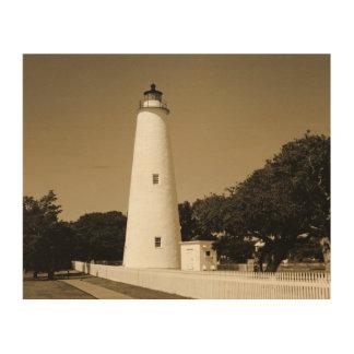 Faro de Ocracoke Impresión En Madera