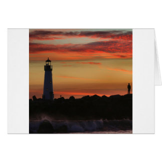 Faro de Santa Cruz de la puesta del sol Tarjeton