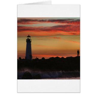 Faro de Santa Cruz de la puesta del sol Tarjeta De Felicitación