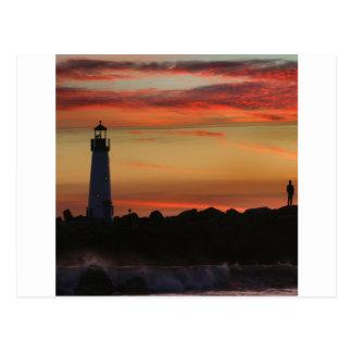 Faro de Santa Cruz de la puesta del sol Postal