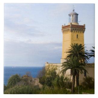 Faro de Tánger Marruecos en el casquillo Spartel Azulejo Cuadrado Grande