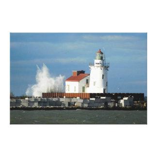 Faro del lago Erie con la impresión de la lona de