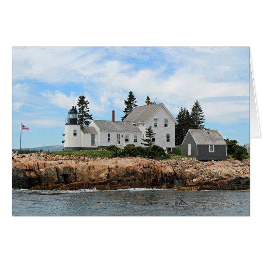 Faro en la costa de Maine Tarjeta Pequeña