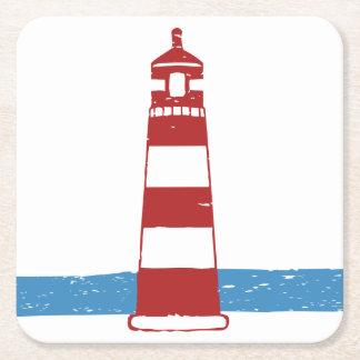 Faro náutico rojo y rayas blancas, casandose posavaso cuadrado de cartón