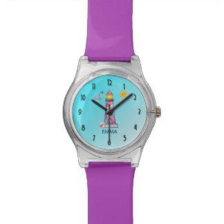 Faro rayado rojo de la acuarela reloj de pulsera