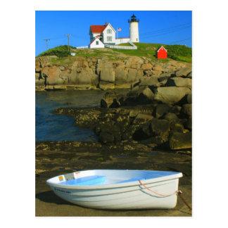Faro y barco de Neddick del cabo Postales