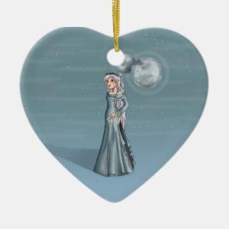 Fátima tres lunas adorno de cerámica en forma de corazón