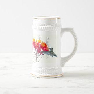 Fauna animal del pájaro del colibrí floral jarra de cerveza