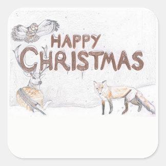 Fauna en el pegatina del navidad