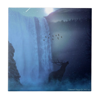 Fauna y cascadas azulejo cuadrado pequeño