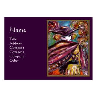 FAUSTO/máscara misteriosa con el búho, púrpura Tarjetas De Visita Grandes