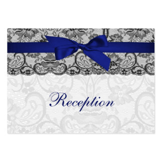 Faux lace and ribbon navy blue  reception cards business card template