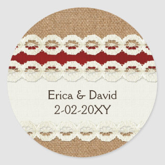FAUX red lace and burlap , wedding seals Stickers