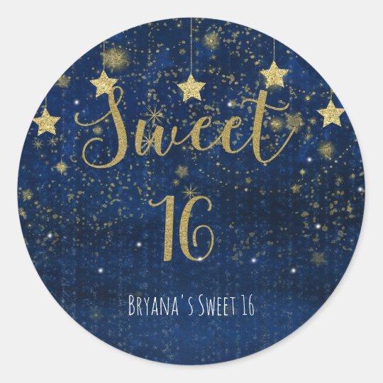 Favor de fiesta brillante del dulce 16 de las pegatina redonda