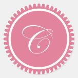 Favor de fiesta rosado del sello del monograma de  pegatina