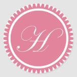 Favor de fiesta rosado del sello del monograma de  pegatinas