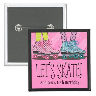Favor de la fiesta de cumpleaños del patinaje sobr chapa cuadrada 5 cm