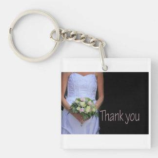 Favor de La Sposa di Sabbia Wedding Llavero Cuadrado Acrílico A Doble Cara