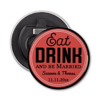 Favor del boda - coma, bebida y sea retro casado abrebotellas redondo