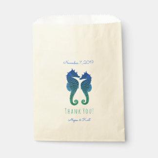 Favor del boda de playa del verde azul de los bolsa de papel