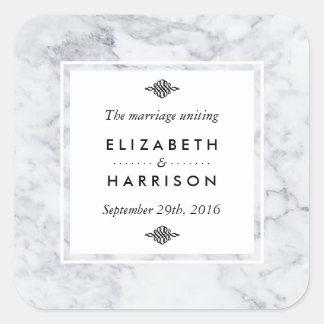 Favor elegante del boda del mármol del vintage pegatina cuadrada