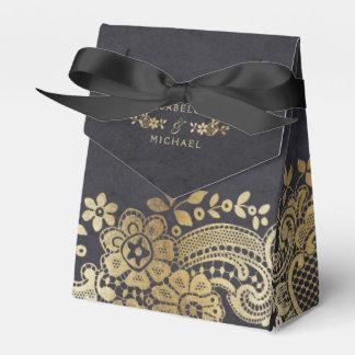 Favor elegante negro del boda del cordón del caja para regalos