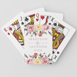 Favor floral del boda de la acuarela color de rosa barajas de cartas