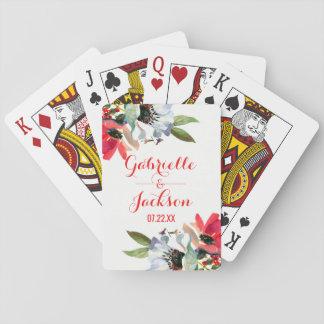Favor floral del boda de la acuarela roja coralina barajas de cartas