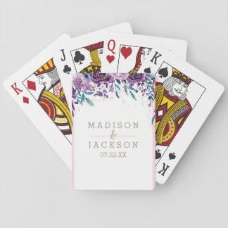 Favor floral púrpura elegante del boda del oro de barajas de cartas