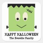 Favor lindo verde del feliz Halloween de Calcomania Cuadradas Personalizada