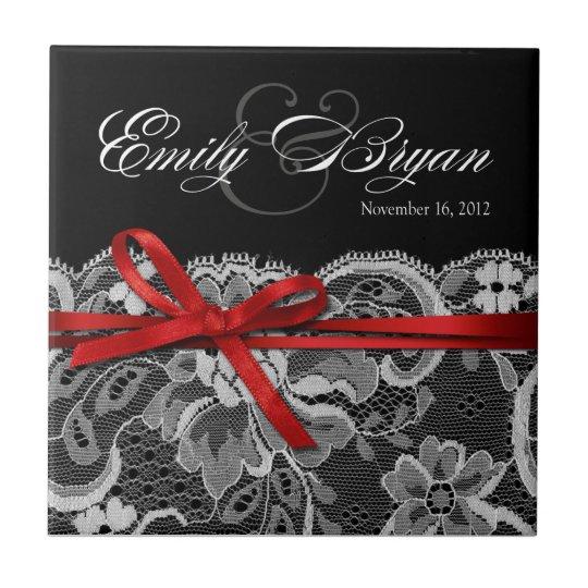 Favor rojo blanco negro del boda del recuerdo del azulejo cuadrado pequeño