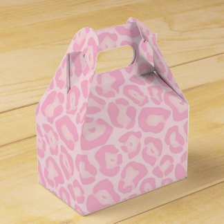 Favor rosado del safari de la impresión del caja de regalos