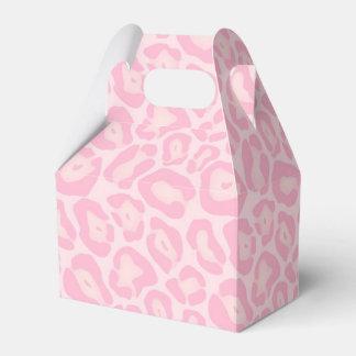 Favor rosado del safari de la impresión del cajas para regalos de boda