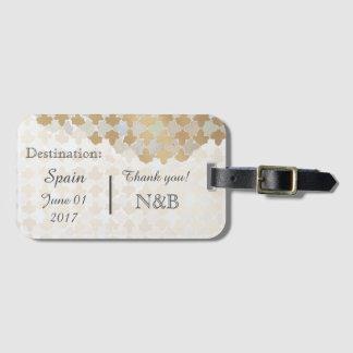 Favor rústico de la huésped del boda del destino etiquetas para maletas