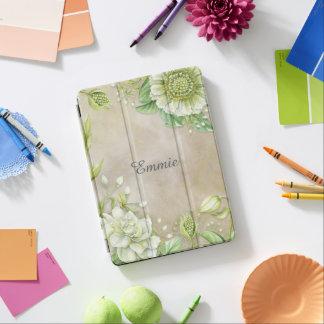 Favorable cubierta floral y de las hojas blanca de cubierta para iPad pro