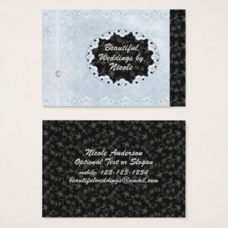Favorable tarjeta de visita elegante del boda azul