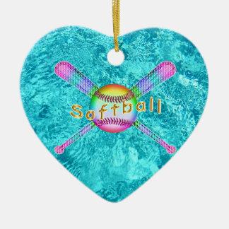 Favores de fiesta lindos estupendos del softball adorno de cerámica