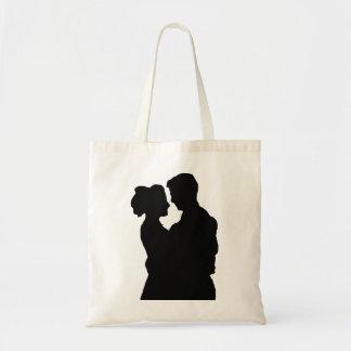 Favores del boda - silueta de los pares bolso de tela