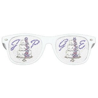 Favores personalizados del pastel de bodas de las gafas de fiesta retro